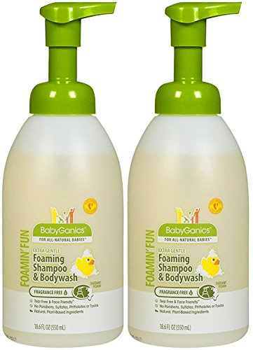BabyGanics Foamin' Fun Foaming Shampoo & Body Wash - Fragrance Free - 18.6 oz, Pack of 2