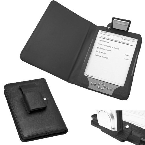"""Xtra-Funky Exclusive Pu Leather Book Wallet Folio Style Case For Amazon Kindle 4 (Black Or Silver 6"""" E-Ink Display No Keyboard Model) With Integrated Fold Away Light - Black"""
