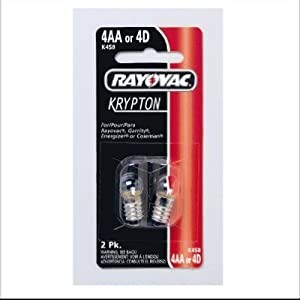 Rayovac K4SB-2 Krypton Screw Base Bulb for 4 Cell AA Size and D Size Flashlight [PRICE is per EACH]