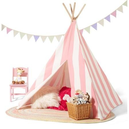Kids Teepee Play Tent 100% cotton Canvas indoor or outdoor Playhouse with Case by MegaDeal kaufen