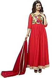 Krishna Emporia Women's Red Salwar Suit Dupatta Dress Material (Ayesha Takia Dress Material)