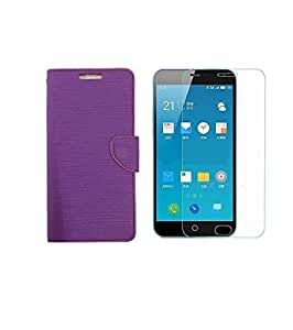 ZYNK CASE FLIP COVER PURPLE WITH TEMPERED GLASS FOR MEIZU M3 NOTE