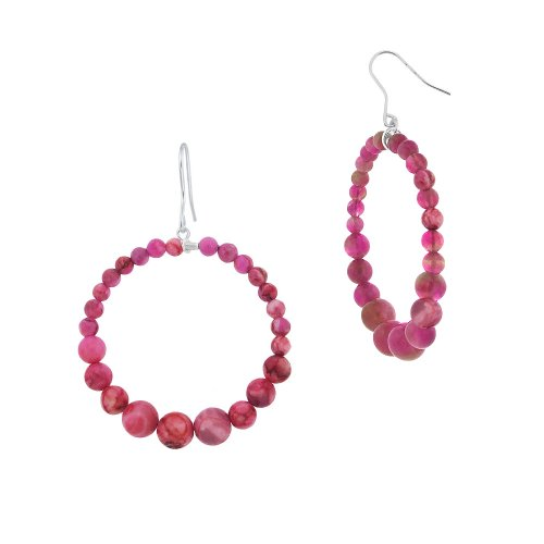 Sterling Silver Graduated Pink Agate Bead Open Circle Drop French Wire Earrings