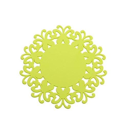 YOKIRIN PVC Untersetzer aus Filz für Tisch und Bar als Glasuntersetzer / Getränkeuntersetzer für Glas und Gläser Tischsets- Gelb (Size:Small,Durchmesser:12CM)
