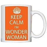 M Print Keep Calm I'M Wonder Woman Mug - Printed In Orange - 10oz