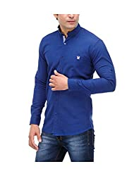 Nexq Men's Slim Fit Linen Casual Shirt (N51146_Blue_Small)