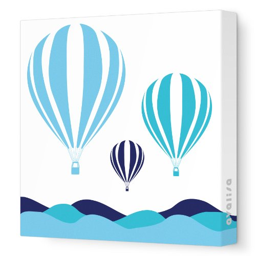 """Avalisa Stretched Canvas Nursery Wall Art, Hot Air Balloon, Blue Hue, 28"""" X 28"""" front-1030969"""