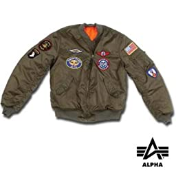 Youth M A1 Jacket W/Patches,4,Sage Green