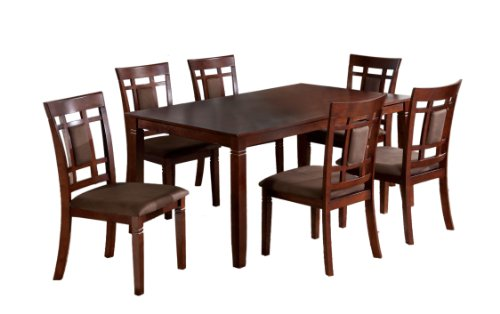 Furniture of America Cartiere 7-Piece Dining Table Set, Dark Cherry Finish (Cherry Dining Room Table compare prices)