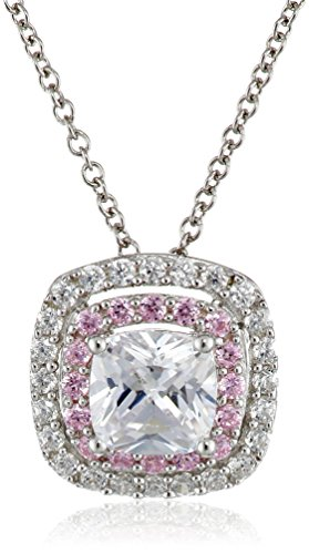 """Sterling Silver Pink And White Cubic Zirconia Cushion Pendant Necklace, 18"""""""