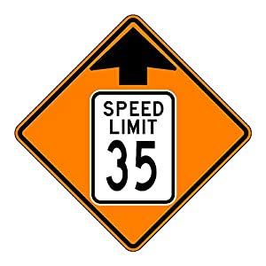 MUTCD W3-5 Orange Speed Limit 35 Reduced Speed Limit Sign, 3M Reflective Sheeting, Highest Gauge Aluminum,Laminated, UV Protected, Made in U.S.A