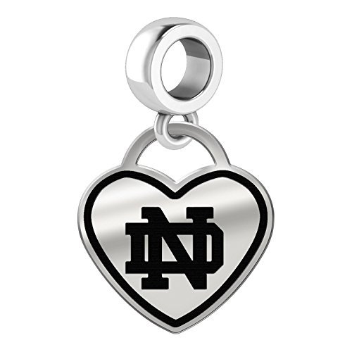 Notre Dame Fighting Irish Border Heart Dangle Charm Fits All Beaded Charm Bracelets