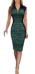 REPHYLLIS Women Vintage Zipper Cocktail Party Work Casual Pencil Dress