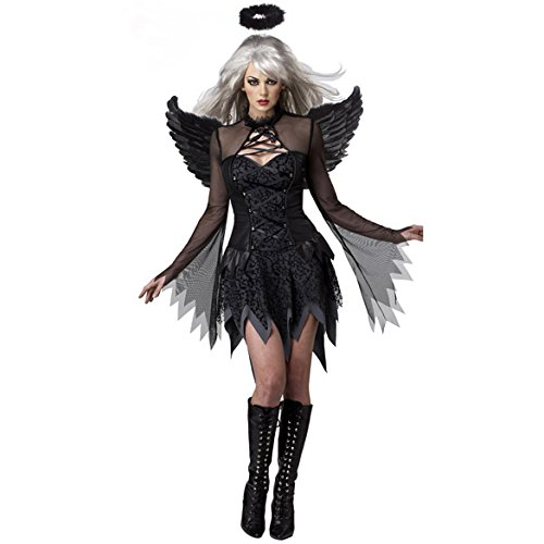 Q-Lingerie, Women's Black Angel Haloween Costume Lace Mesh Wings Halo CS54