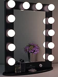 hollywood classic xl vanity mirror w dimmer by impressions vanity black. Black Bedroom Furniture Sets. Home Design Ideas
