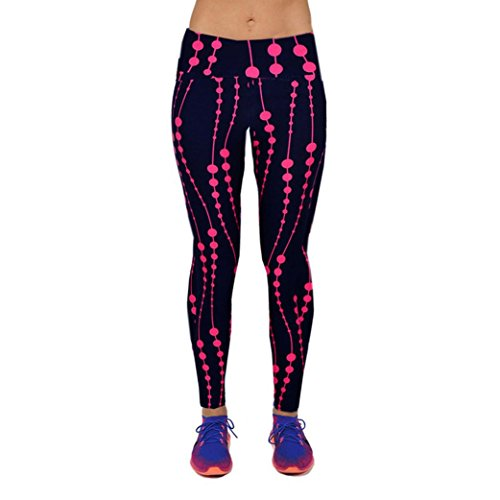 AIMTOPPY Women High Waist Fitness Yoga Sport Pants Printed Stretch Nine Points Leggings (XL, Hot Pink)