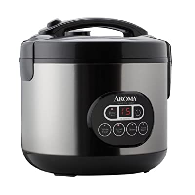 Aroma Professional 12-Cup (Cooked) (6-Cup UNCOOKED) Digital Rice Cooker and Food Steamer, Stainless Steel Exterior (ARC-926SBD) by Aroma Housewares