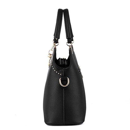 Ryse Womens Fashionable Classic Metal Letter Ornaments Exquisite Handbag Shoulder Bag(Black)