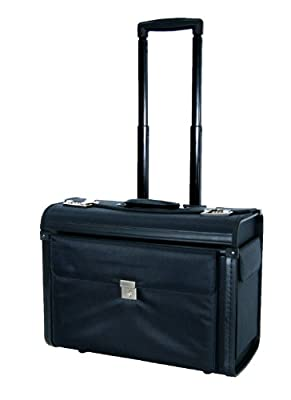 "16"" 17"" High Quality Laptop Business Pilot Case Wheeled Holdall Cabin Trolley Bag Size L49 cm x H37 cm x W25 cm by Outback Travel"