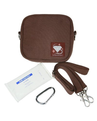 Icy Diamond Totes - Small Insulated Bag - for medication, insulin, baby items, snacks (Brown)