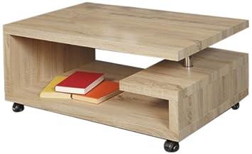 """HL Design 01-03-518.1 Couchtisch """"Kim"""", 900 x 600 x 430 cm, Sonoma Eiche hell, 40 mm, Stärke, rollbar"""