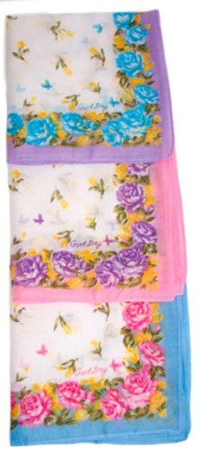 Colorful Printed Handkerchief With Rose Border - Set Of 3 front-675663