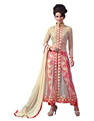 Women's Cream & Red Embroidered Net Semi Stitched Suit