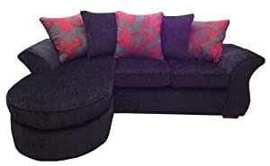 Anna corner chaise sofa in Black and Red by Sofa So Good NE Ltd