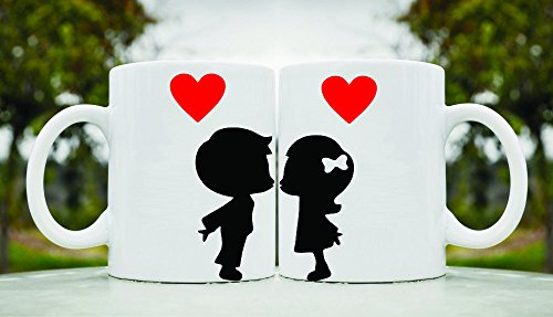 2 Boy And Girl Kissing His And Hers 11Oz Ceramic Coffee Mug Cup