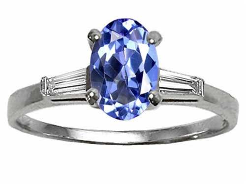 Tommaso Design Oval 7X5 Mm Genuine Tanzanite And Diamond Engagement Ring 14K Size 5.5