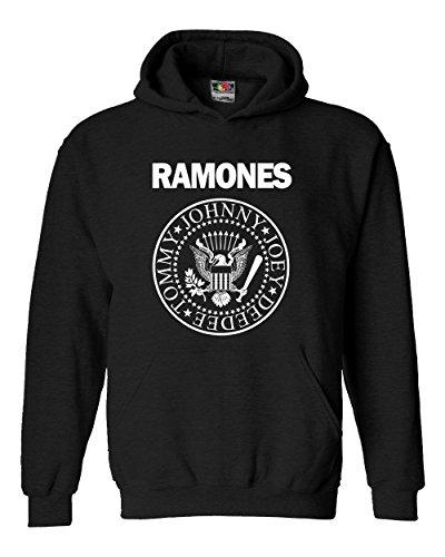 """Felpa Unisex """"Ramones""""- Felpa con cappuccio rock band LaMAGLIERIA, XL, Nero"""