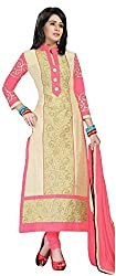 Pandadi Creation Women's Cotton Blue and Yellow Color Suit Piece Dress Material with Nazneen Dupatta