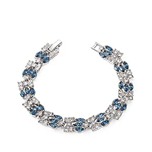 K-DESIGN Fashion Style Silver Plated Crystal Charm Bracelet for Women Stainless Steel Bracelet With Blue Diamond