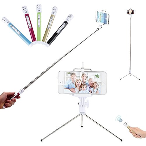 Brand New 2015 Modern, Elegant, Stylish Selfie Stick with Built-in Wireless Bluetooth Remote Shutter and FREE Telescopic Tripod Stand for Self Portrait - Best Handheld Monopod for Apple iPhone and And