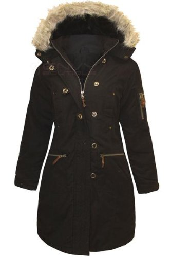 ENVY BOUTIQUE LADIES FUR HOODED MILITARY QUILTED