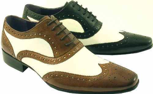 Black  &  White Leather Rock N Roll 1950s Full Brogues Shoes 7