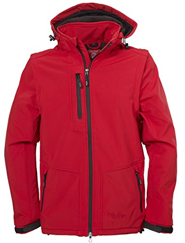 Softshell-Jacke Outdoor-Jacken Herren mit abtrennbaren Ärmeln und Kapuze von Fifty Five - Power red 5XL - und FIVE-TEX Membrane in Outdoor-Bekleidung