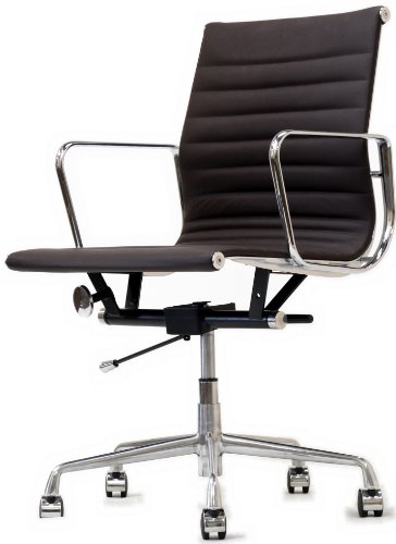 buy cheap lexington modern ribbed mid back office chair brown genuine leather low prices us. Black Bedroom Furniture Sets. Home Design Ideas