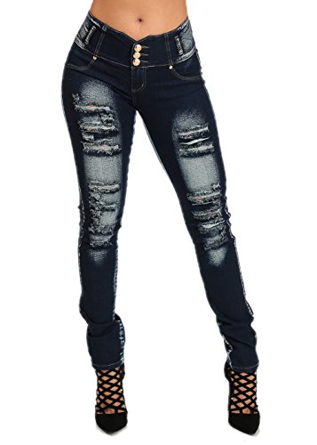 Sexy High Waist Butt Lift Levanta Cola Ripped Distressed Straight Jeans 10594I
