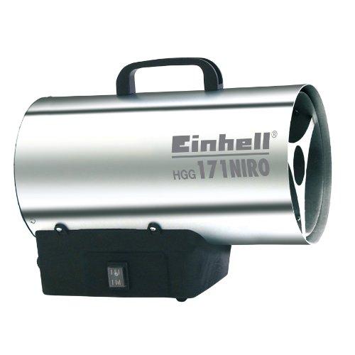 Gas Heizgebläse HGG 171 Niro (Heizleistung bis 17 kW, 500 m³/h Luftdurchsatz, für handelsübliche Gasflaschen, rostfreies Stahlblech Gehäuse, Piezozündung, Druckregler)
