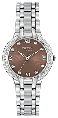Citizen Watch Bella Women's Quartz Watch with Brown Dial Analogue Display and Silver Stainless Steel Bracelet EM0120-58X