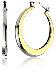 """Elizabeth and James """"Eclipse"""" Silver and Gold-Plated Hoop Earrings"""