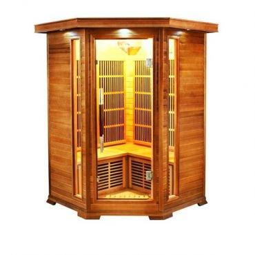 sauna cabine infrarouge d angle soleil blanc 2 3 places sn soleilbl2c. Black Bedroom Furniture Sets. Home Design Ideas