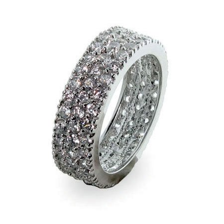 Sterling Silver Band with Triple Row Cubic Zirconias Size 7 (Sizes 5 6 7 8 9 Available)