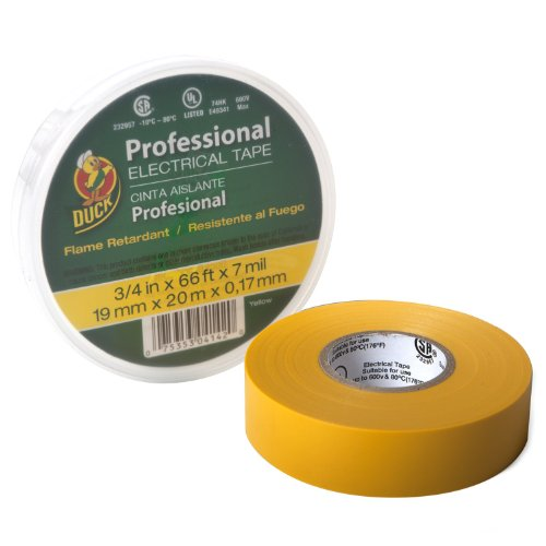 Duck Brand 299017 Pro 667 Series Electrical Tape, 3/4-Inch By 66 Feet, Single Roll, Yellow