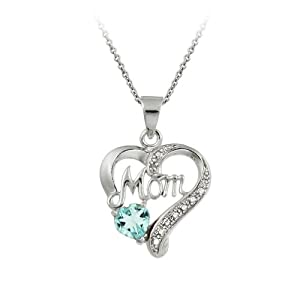 Sterling Silver, Diamond-Accent and Blue Topaz Mom Heart Pendant Necklace, 18""