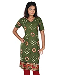 B3Fashion Designer Party Wear Semi Stitched Free Size Green Cotton Bandhej Embroidered Kurti With Half Sleeve