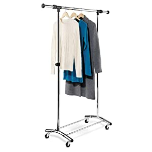 Honey-Can-Do GAR-01123 Commercial Heavy-Duty Steel Garment Rack with Adjustable Bar on Casters, Chrome