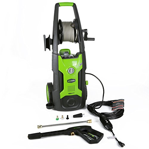 Review GreenWorks GPW1951 13 amp 1950 PSI 1.2 GPM Electric Pressure Washer with Hose Reel