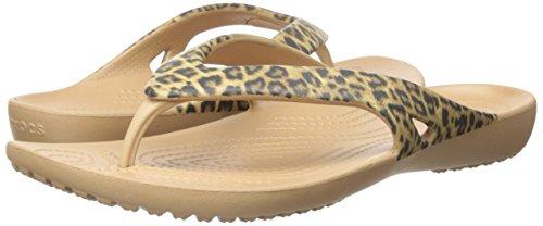 Crocs Women's Kadee II Leopard Print Flip Flop, Gold, 8 M US